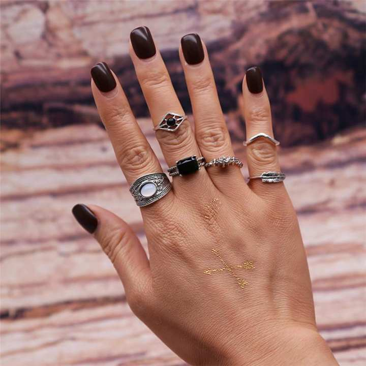 6 PC ring set for women - silver