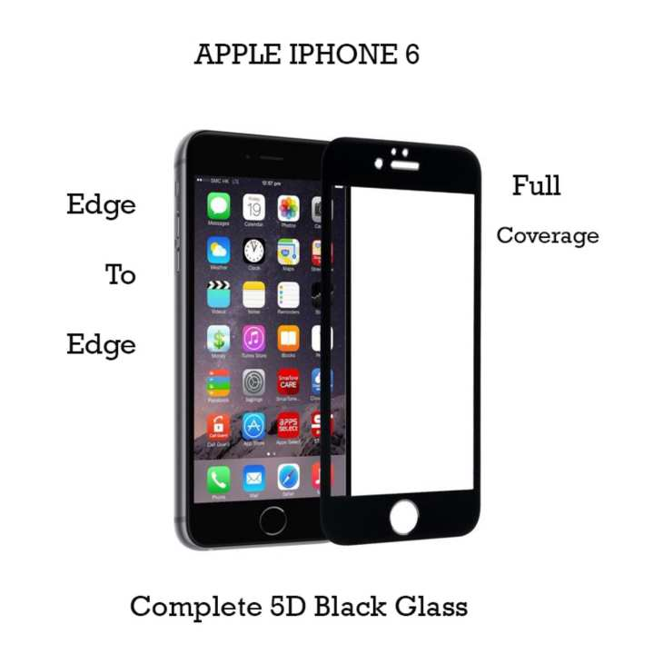 Apple Iphone 6 - 5D Complete Tempered Glass Black Protector For Iphone 6