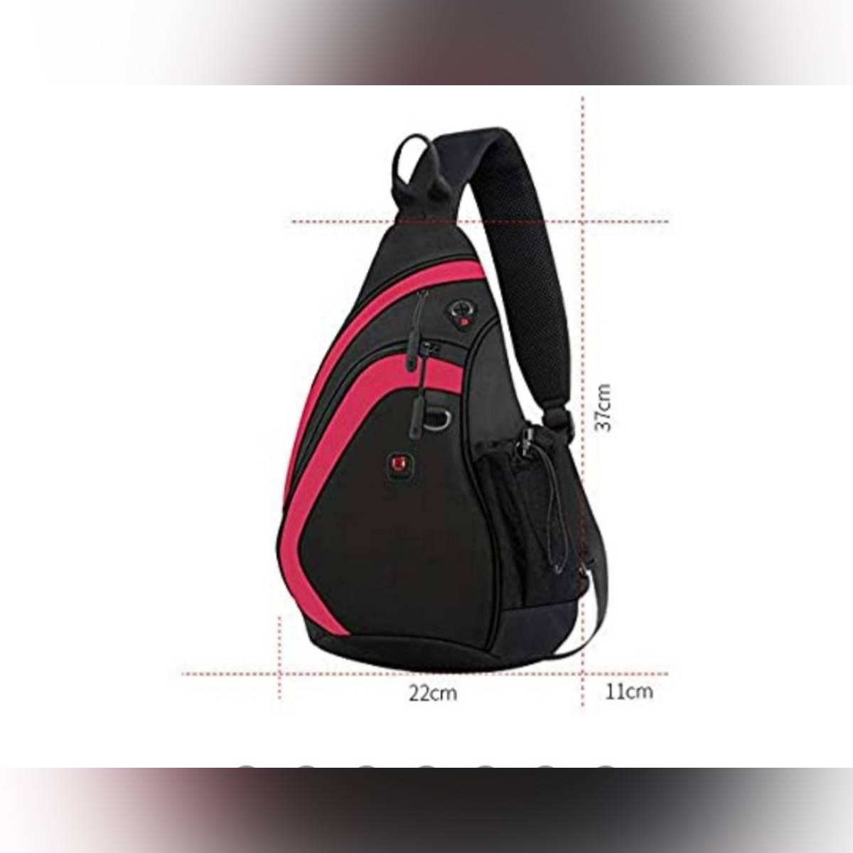 Sling Bag with Earphone Hole Waterproof Chest Shoulder Crossbody Hiking Backpack Sport Outdoor Cycling Bicycle Rucksack Handbag School Daypack For Men