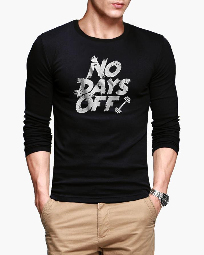 21c2a2a0b No Days Off New Fashion Black Full Sleeve Round Neck Printed Summer T-shirt  For