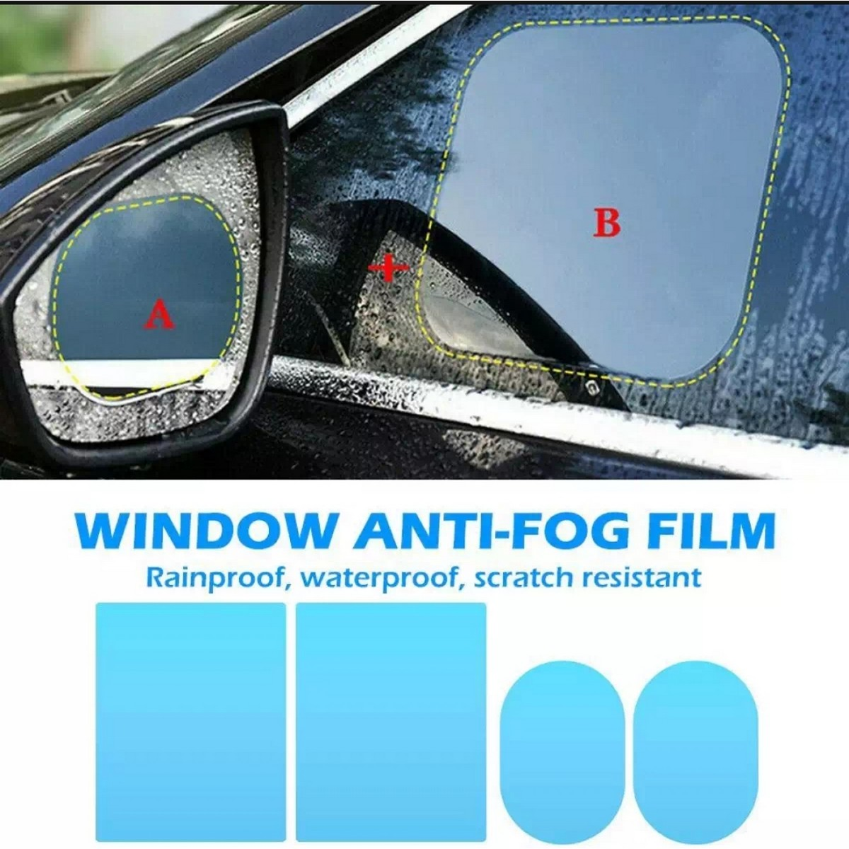 4Pc Anti Fog Window Films For All Cars Water Proof,  Rain Proof,  Sacratch resistant