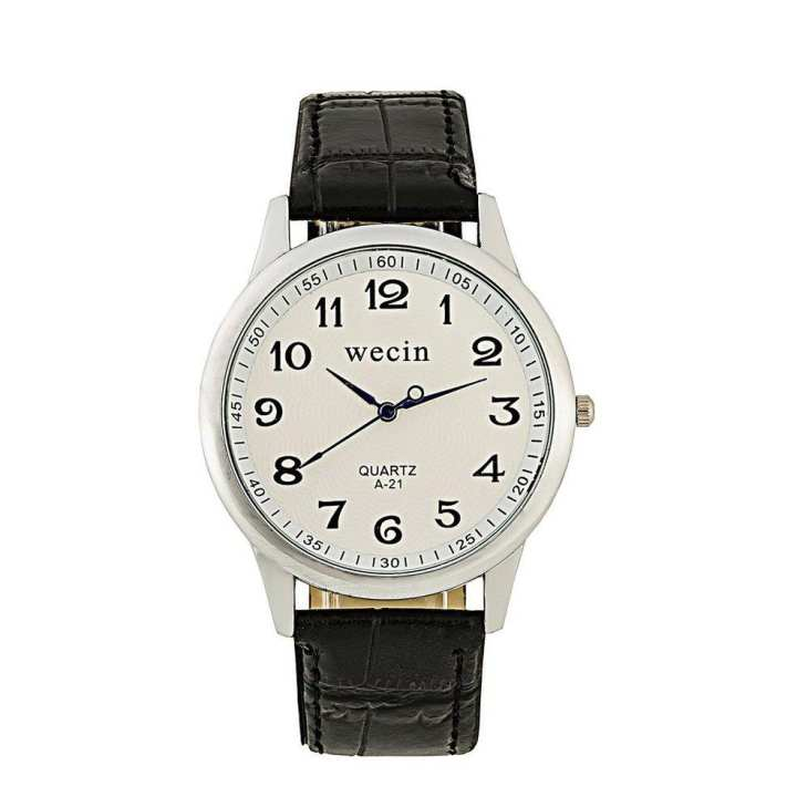 Tick number couple Alloy Case Synthetic Leather Analog Quartz Sport Watch