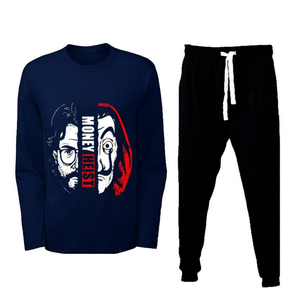 Latest Money Heist Printed Navy T Shirt And Trouser Cotton Full Sleeves Tees New Collection Jogging Pants Top Quality Outfits For Men