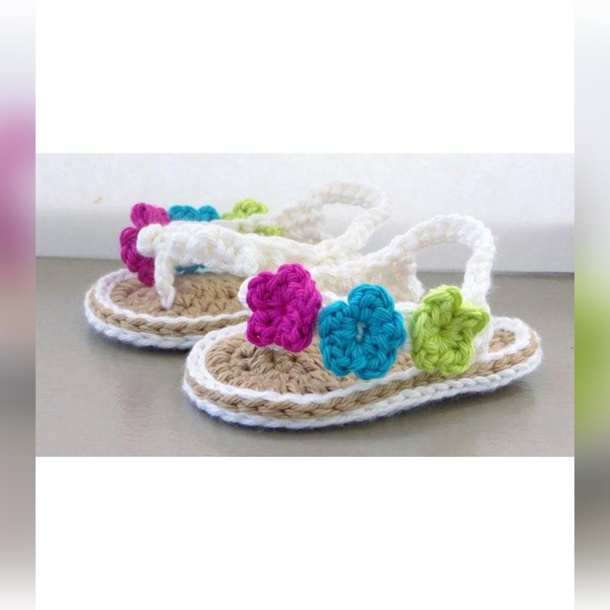 Multi Color Woolen Handmade Crochet Baby Summer Sandal