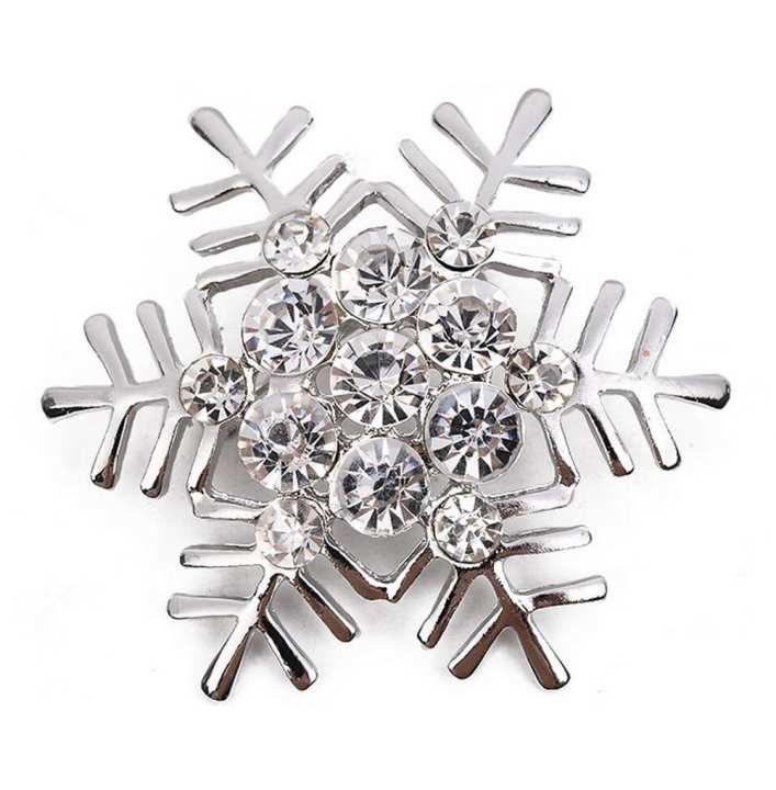 Christmas Snowflake Brooch Fashion Elegant Christmas Snowflake Wedding Bridal Brooch Pin Inlaid Rhinestones Corsage Covered Scarves Shawl Clip For Women's Ladies Girls Christmas Gift (Silver)