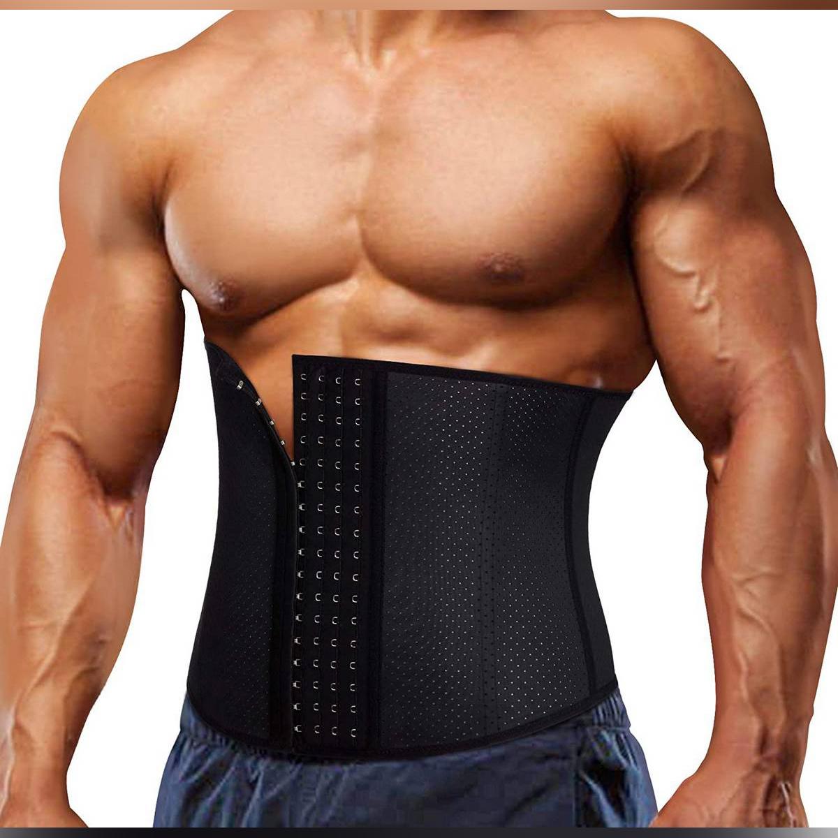 Latex Waist Trainer Belt for Men Body Weight Loss Hot Sweat Fat Burning Shaper Workout Trimmer Band