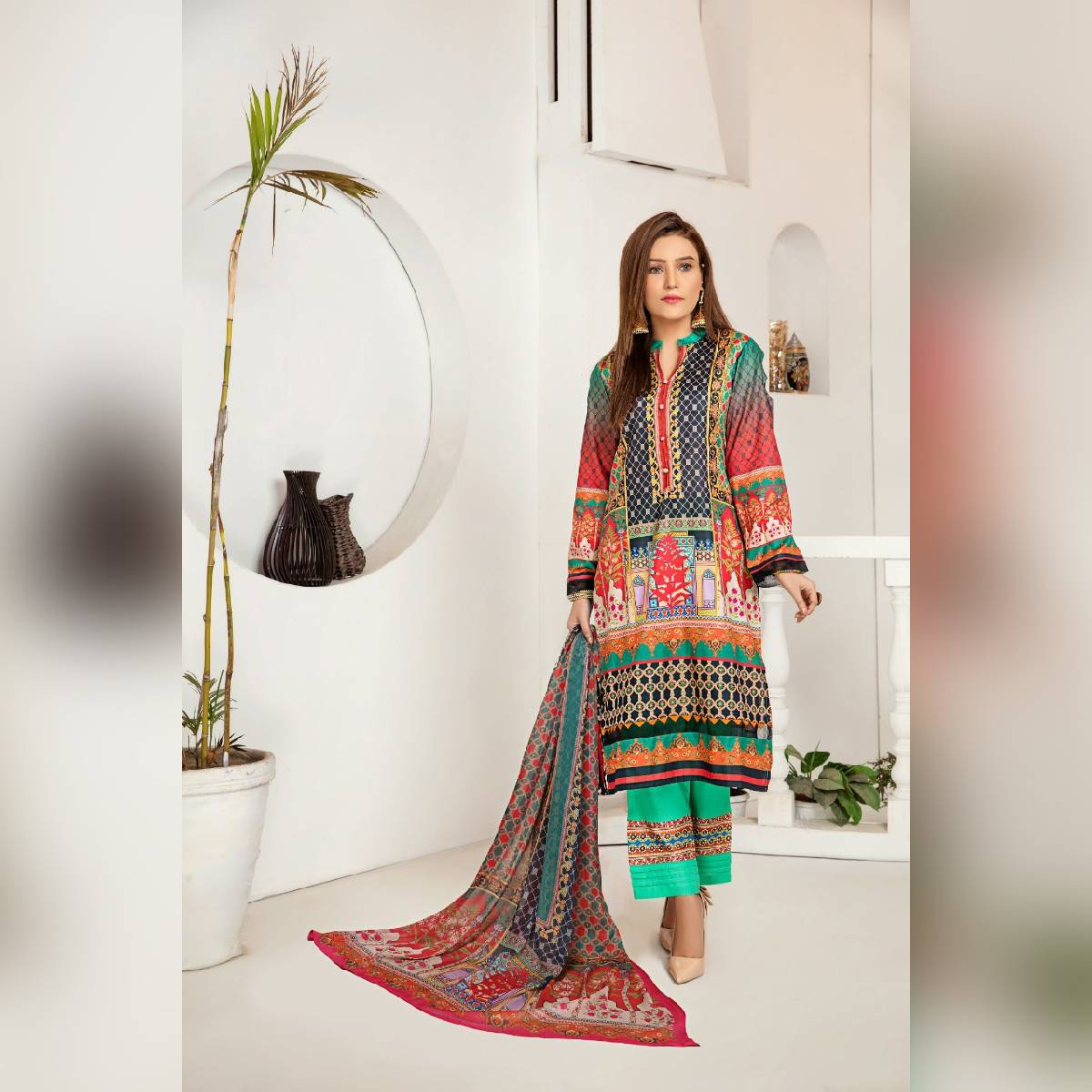 Peshwa Unstitched Green 3-Pc Lawn Suit For Women Summer Unstitched Vol 8 P30803