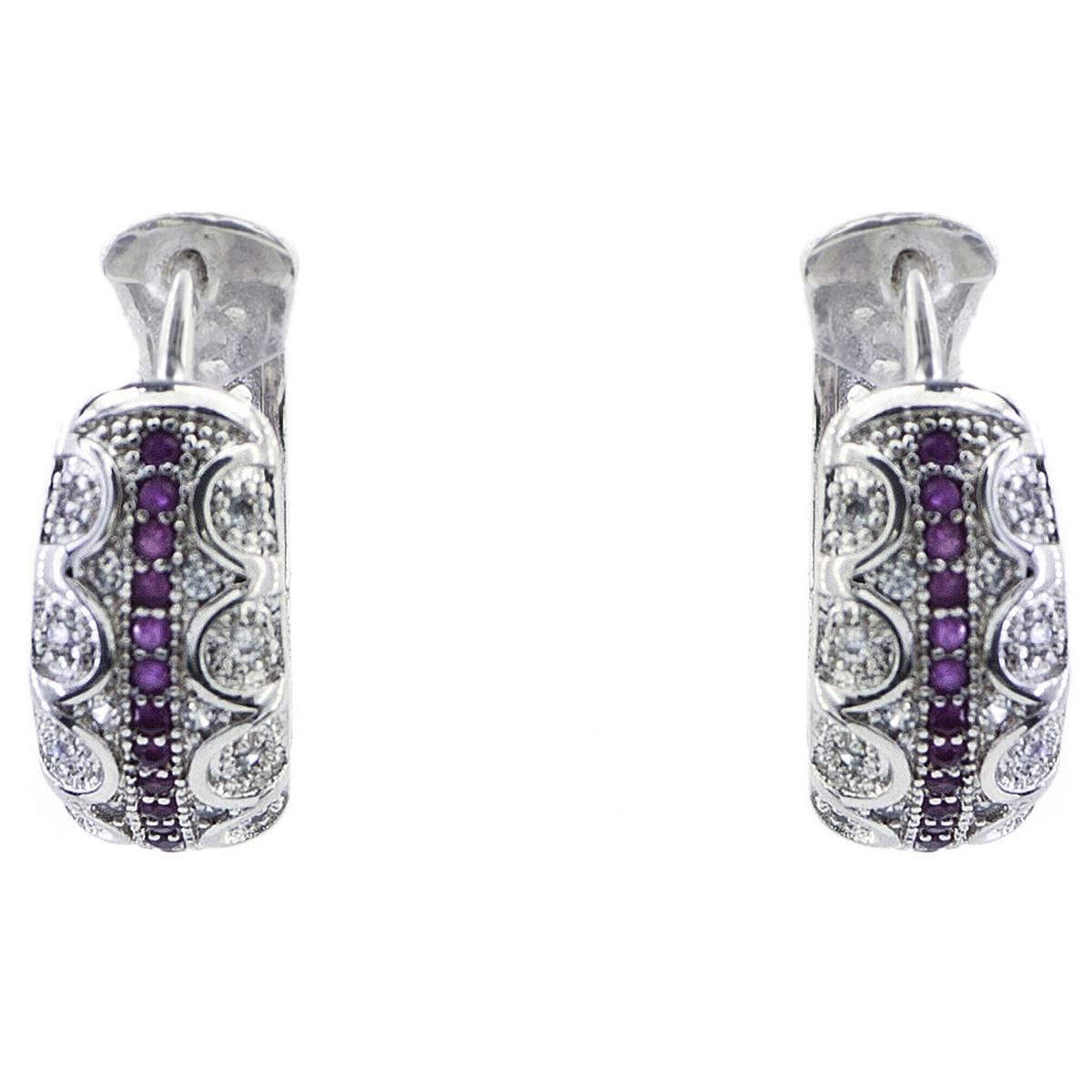 Beautiful Delicate Maroon & White Zircon  925 Sterling Silver Earrings  For Her