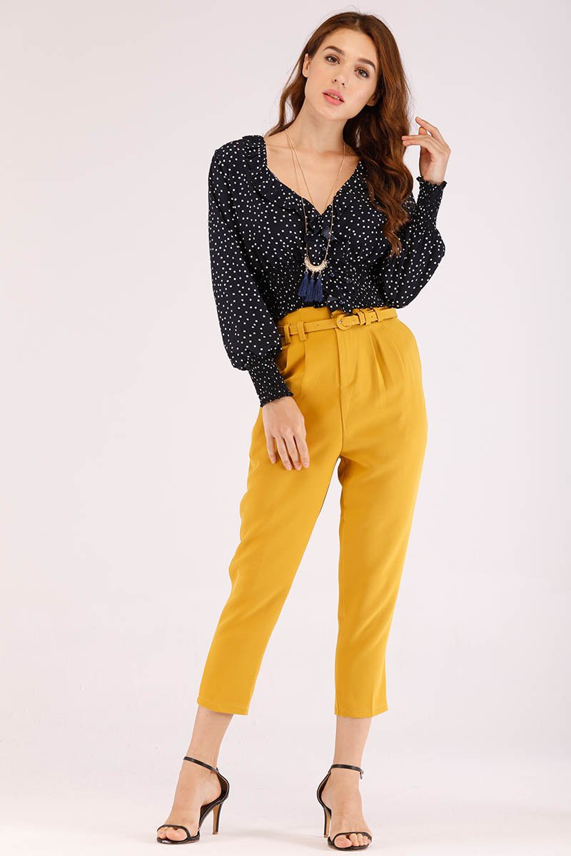 Mantra Colored Formal Pants with Belt for Womens