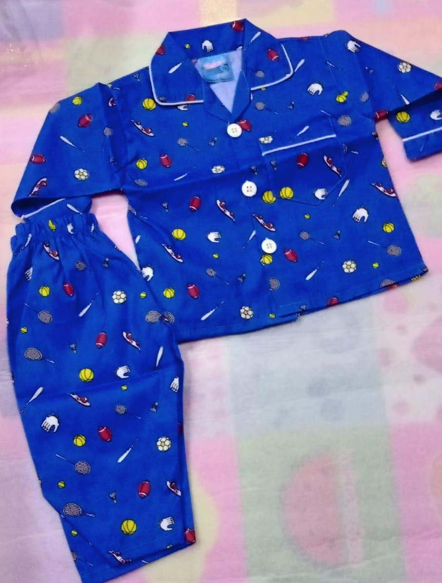 Kids Night Dress In Multicolor & Multi Prints