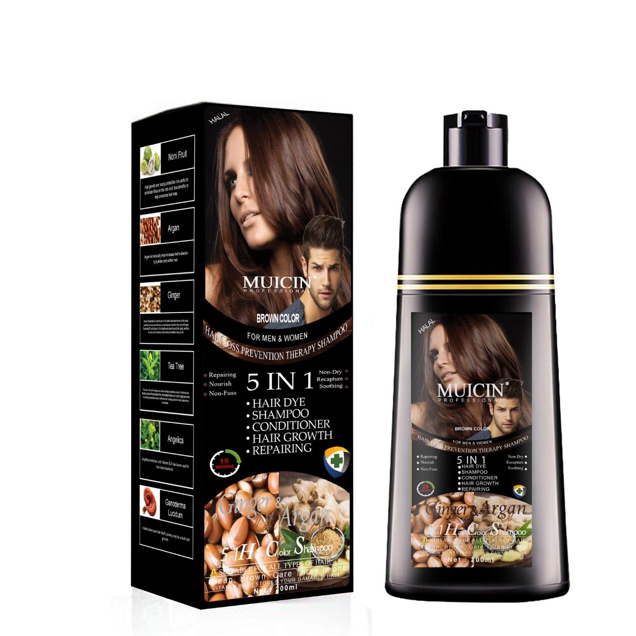 Muicin Brown 5 in 1 Hair Color Shampoo Ginger & Argan Oil 200 ML - For Men & Women