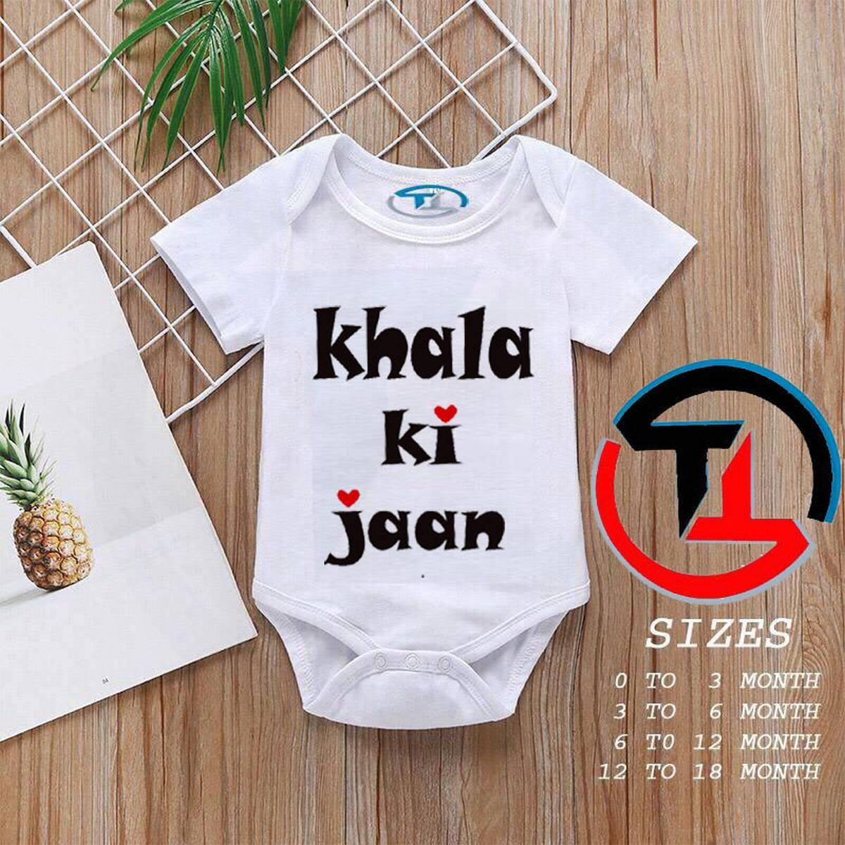 Baby Girls and Boys Half Sleeves Cotton Body suits Summer Wear, Romper Infants Onesies (KHALA KI JAN)