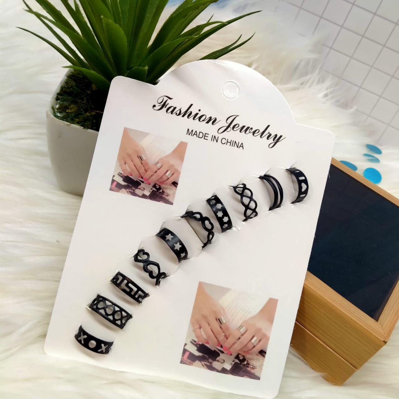 Set of 10 - Black Stainless Adjustable Rings For Girls