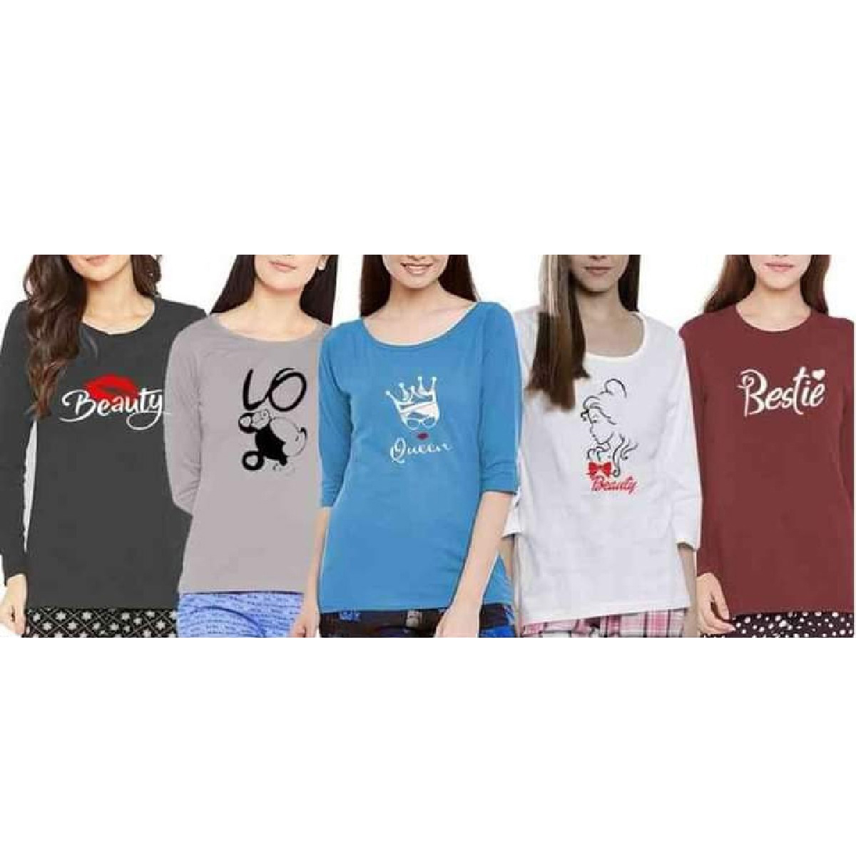 Bundle Of 5 Multi Colour Round Neck Full Sleeves Printed T Shirts for Ladies Women & Girls