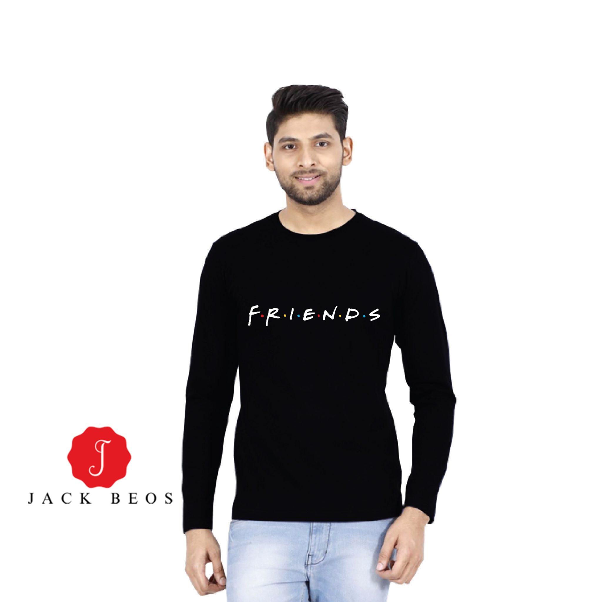 Friends Black Cotton Full Sleeves Tshirt For Men - 1262019