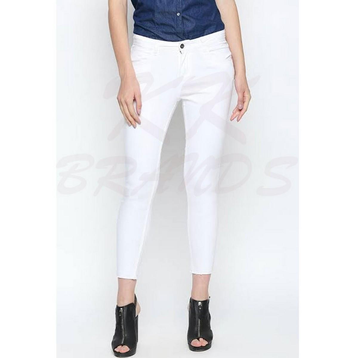 KK Brands White Stretchable Narrow Denim Jeans For Her