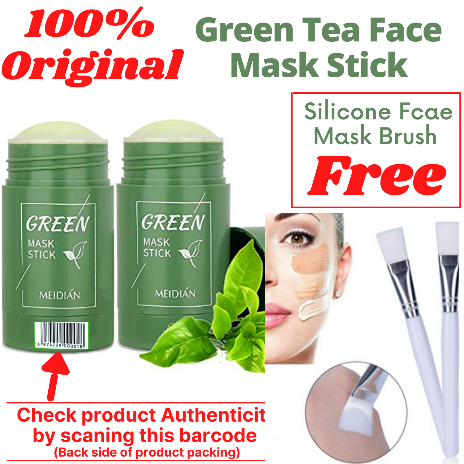 Green Tea Cleansing Mask Purifying Clay Stick Mask Oil Control Skin Care Anti-Acne Blackhead Mud Mask