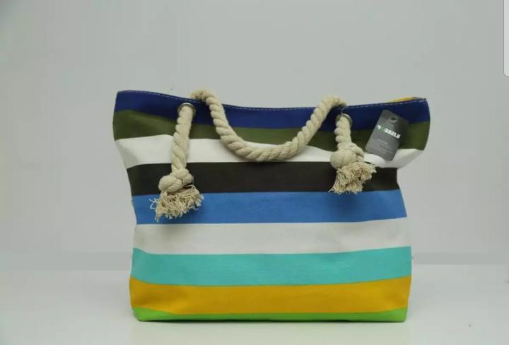 Women's Stripe handbag with cotton rope handle