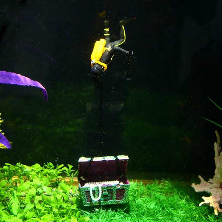 Saim Aquarium Oxygen Device Diver's Salvage Treasure Box - Black