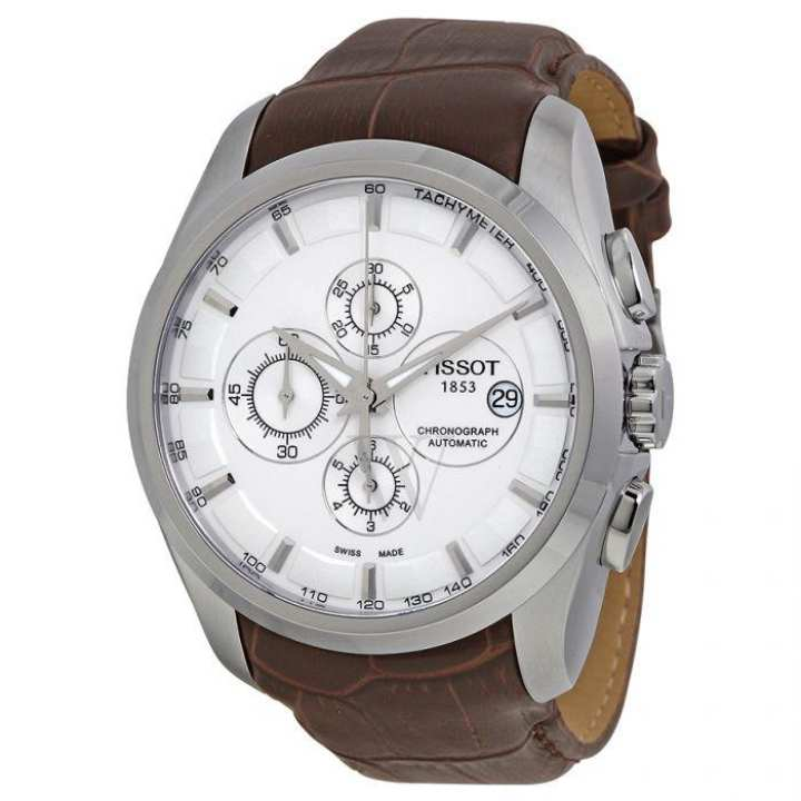 Tissot - brown leather strap watch with working chrono