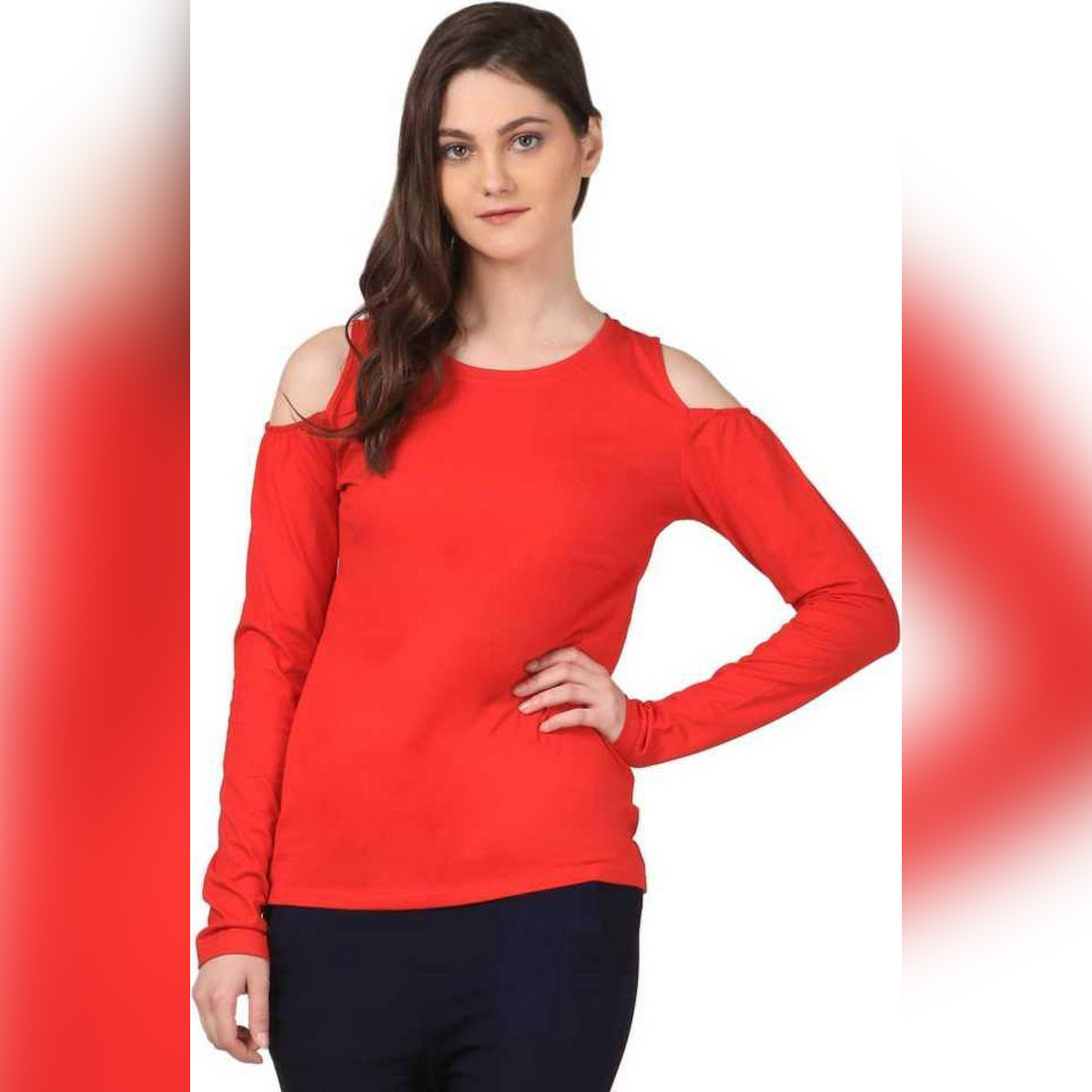 N'noon Casual Full Sleeves Stylish Cold Shoulder T-Shirt Tshirt Shirt Top For Women For Girls