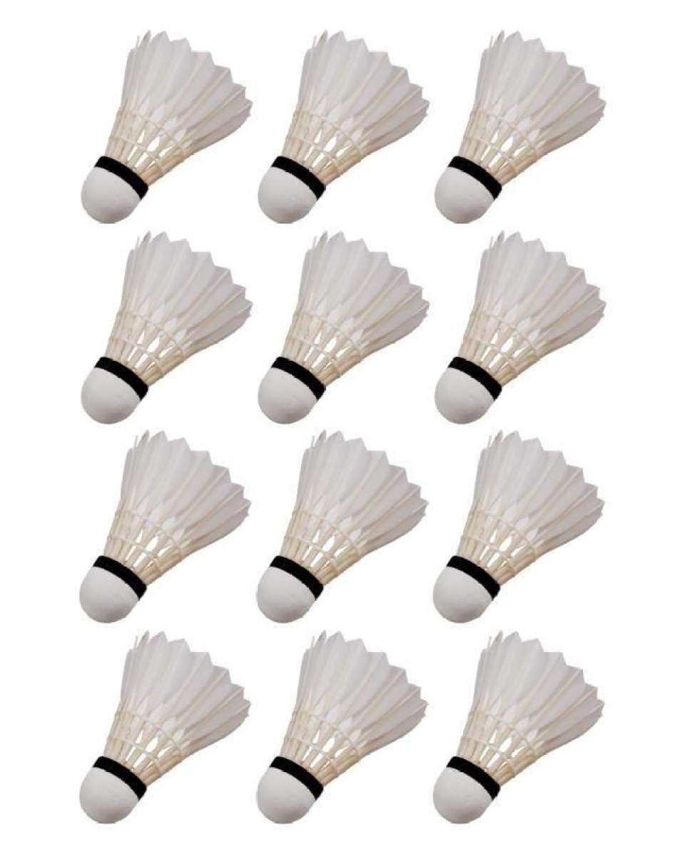 Pack of 12 - Feather Shuttle Cocks - White