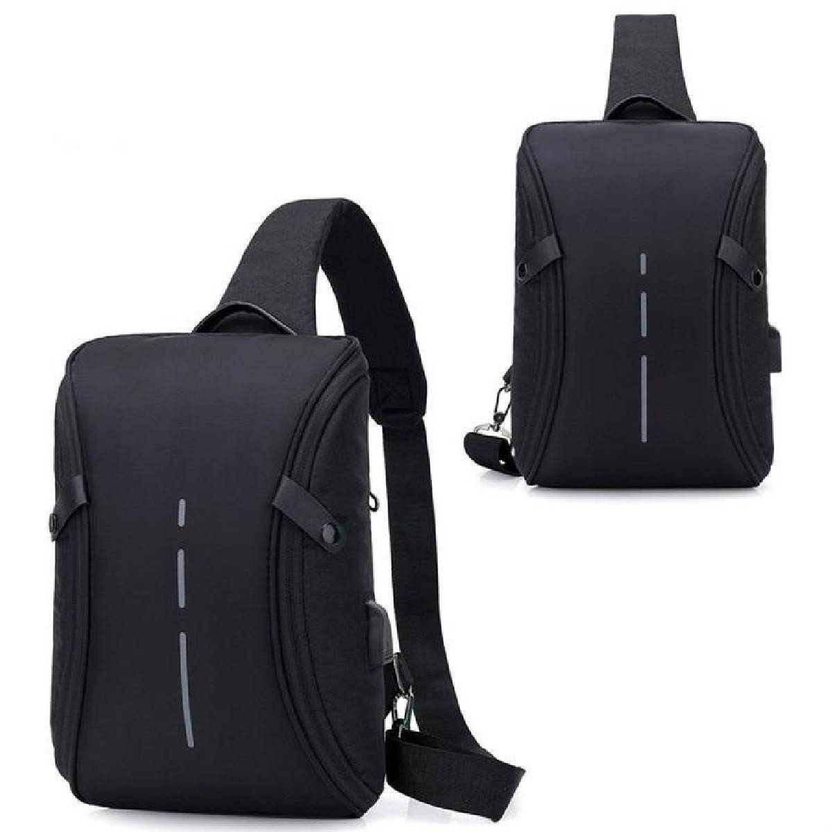 Men Crossbody Sling Bag Shoulder bag Premium Canvas Multi Compartment Chest Pack