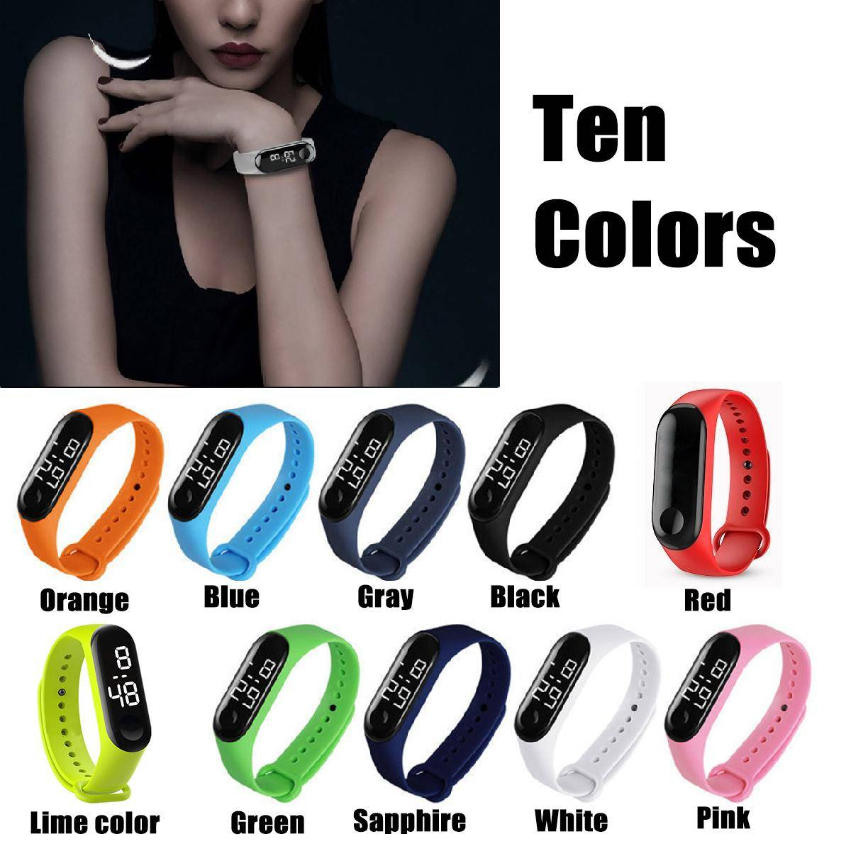 LED Wristband Bracelet Watch - Sports Watch Colourful Fashion Band - Digital Touch Watch band -  Fine Quality & Fashionable Design