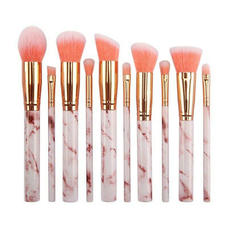 MAANGE Pro 10 Pcs professional makeup brush Set tools Powder Foundation Eyeshadow Lip Eyeliner Blush Marble Face Makeup Brushes