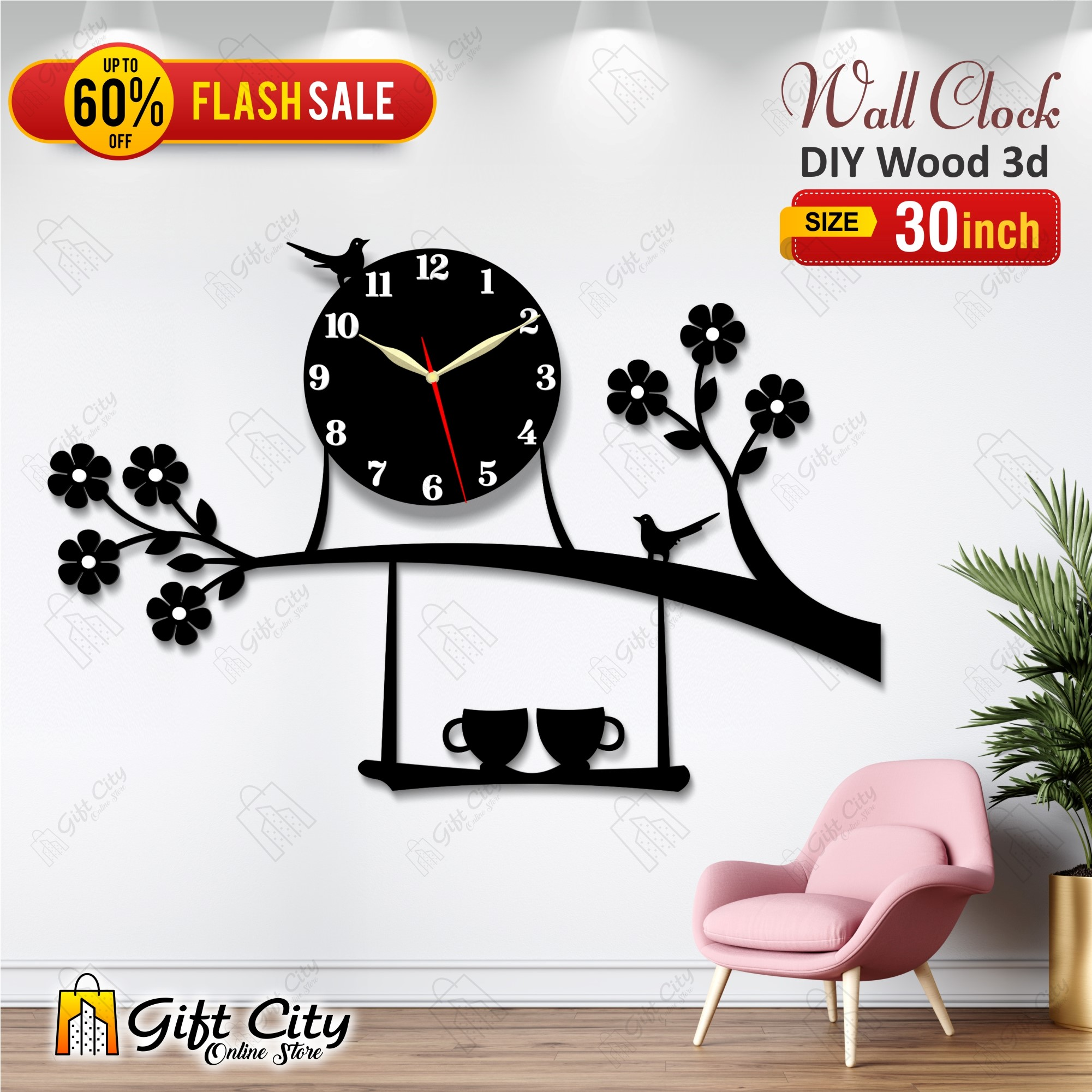 Bird on Tree with Coffee Cup Wooden Wall Clock for Home and Offices, 3D Design Self Adhesive - GIFT City