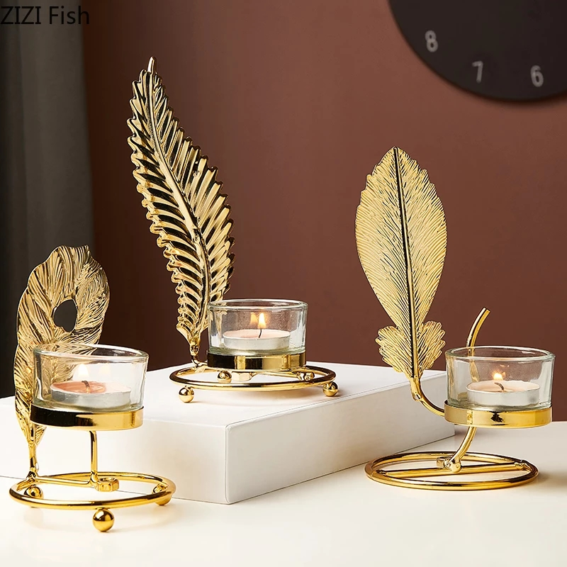 Nordic Luxury Gold Candle Holders Metal Iron Candlestick Table Candlelight Dinner Gift Bougeoir Candles Home Decoration