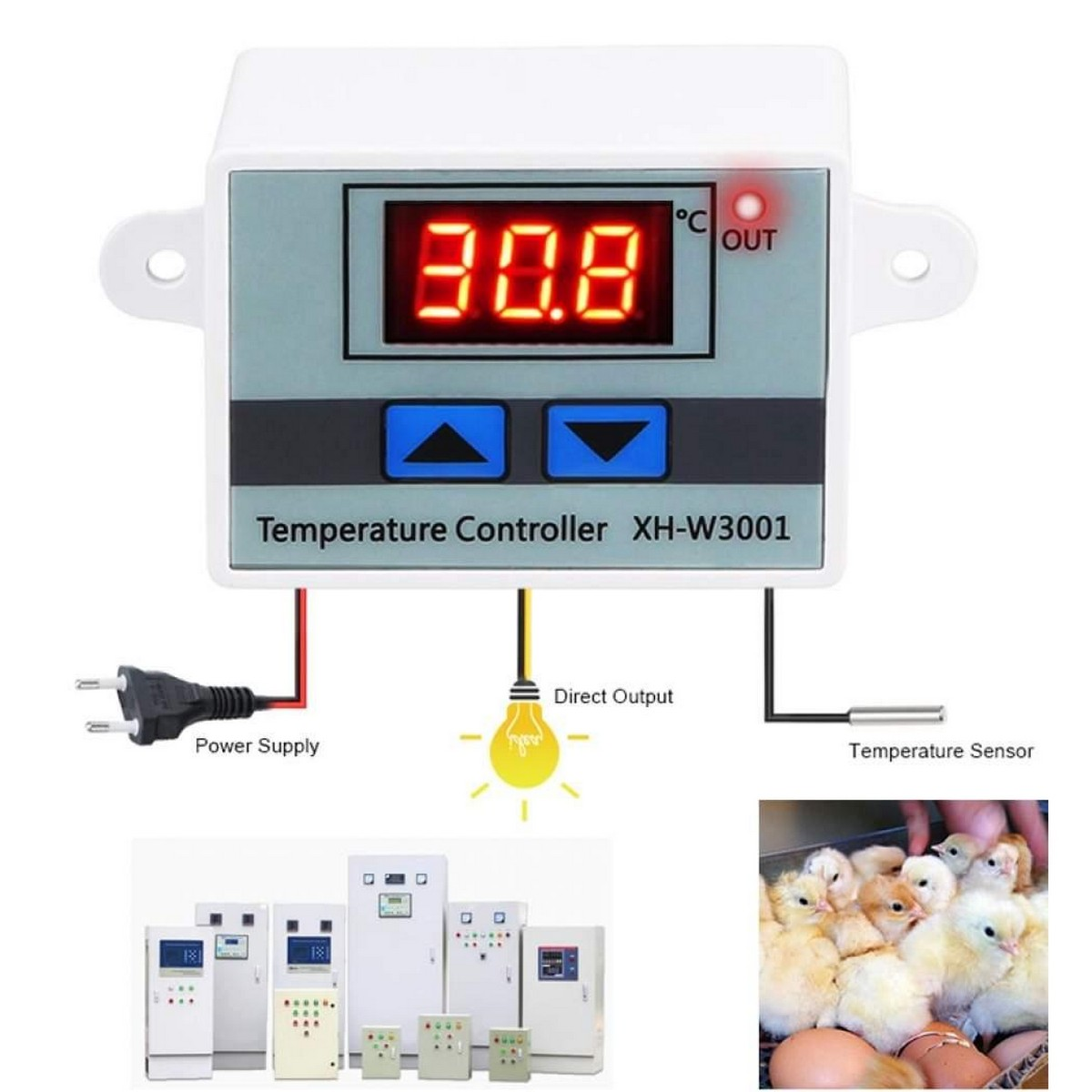 AC 220V W3001 LED Temperature Controller 10A Thermostat Control Switch Probe