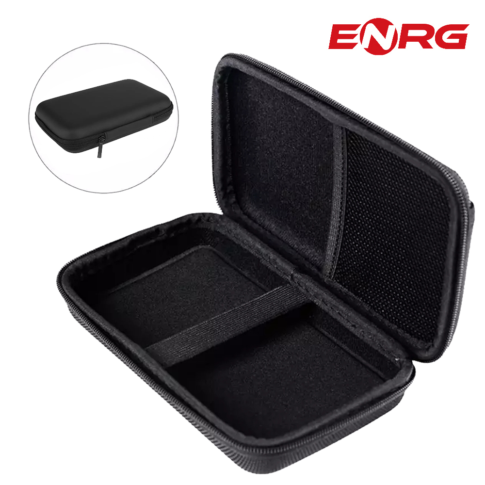 ENRG External Hard Disk Case Cover Drive Pouch Travel Carrying Case For HDD Case 2.5 SATA SSD Solid Drive Memory Card Cable - Black