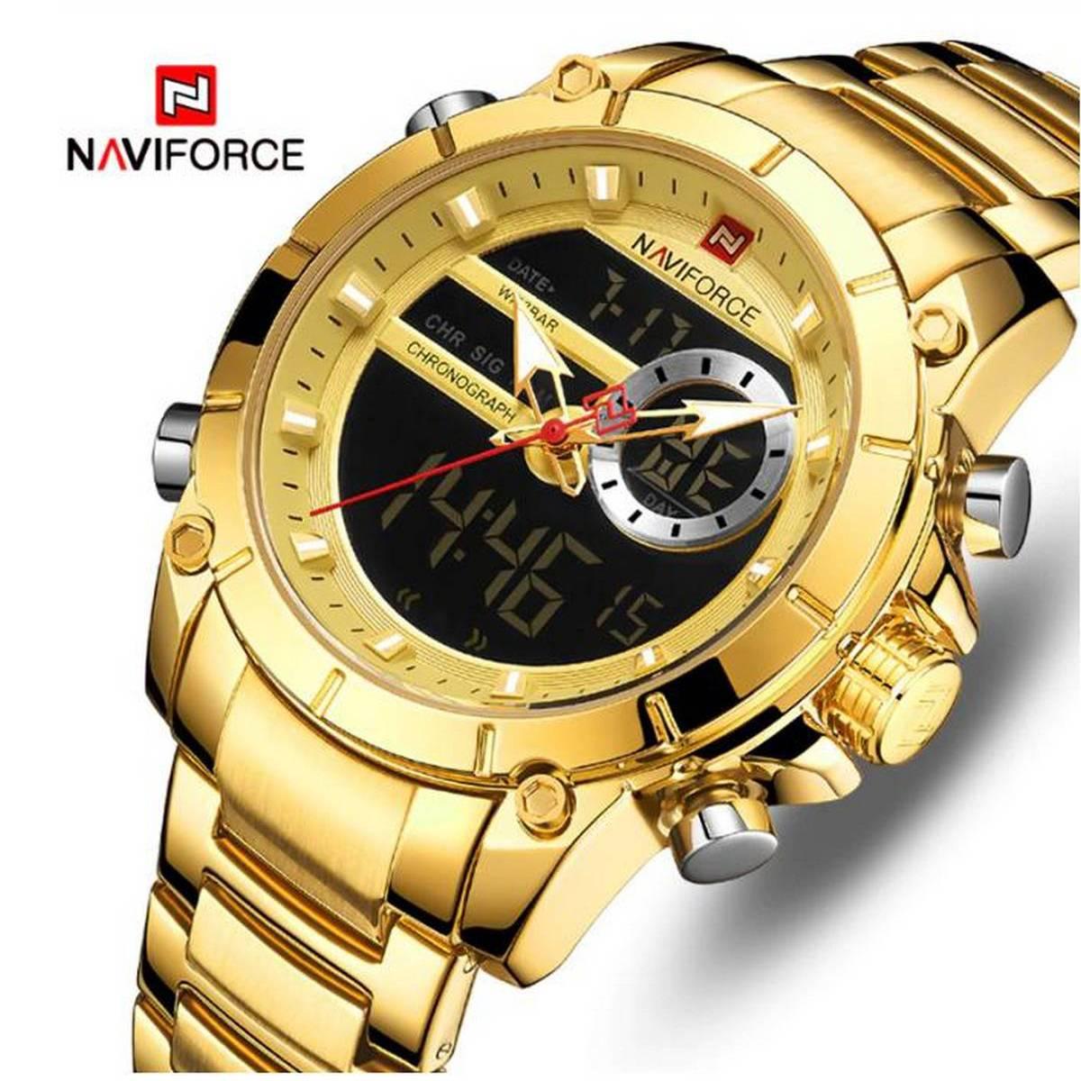 Naviforce Waterproof Japan Quartz Dual Display Watch With Brand Box - NF9163