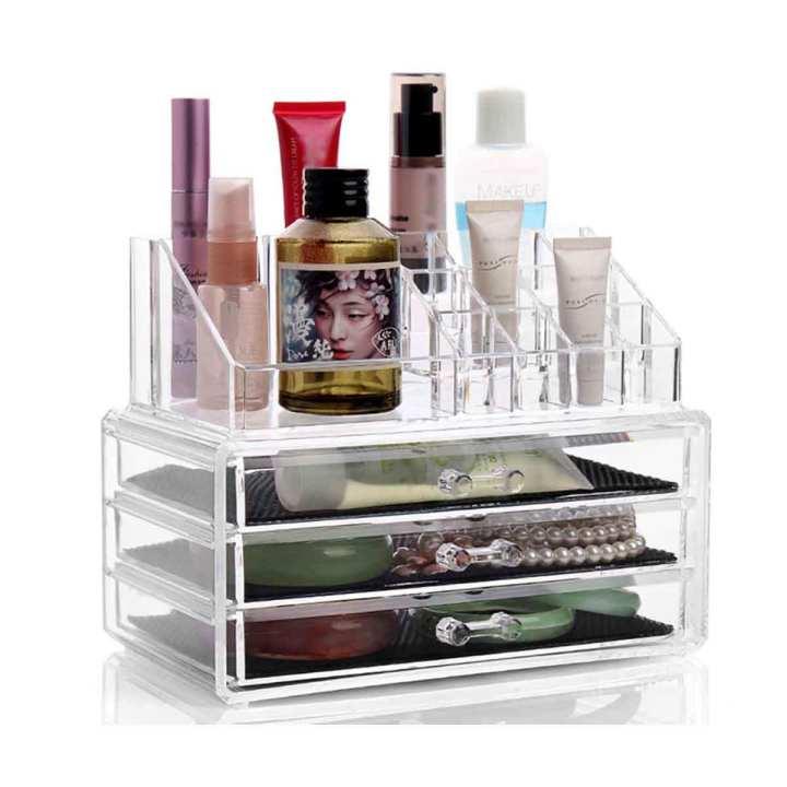 Acrylic Cosmetics and Jewelry Organizer - 3 Layers Cosmetics Make up  Organizer