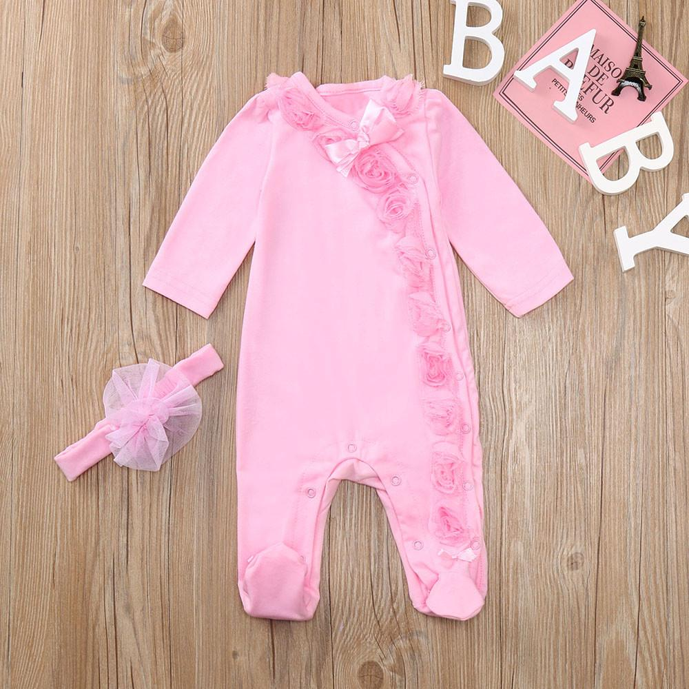 6f64aa3e87d70 Rainbowroom 2019 Infant Baby Girls Long Sleeve Floral Solid Jumpsuit  Romper+Headband Outfits