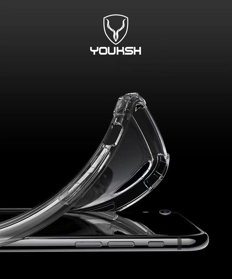 Youksh Apple iphone X/Xs - Youksh Anti-shock Case - Youksh Transparent Jelly Back Cover - (1.5mm) Thickness.