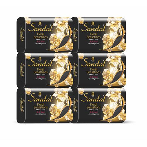 Sandal Floral Sensations Soap  Milk & Gold Dust Black 140 GM Pack of 6