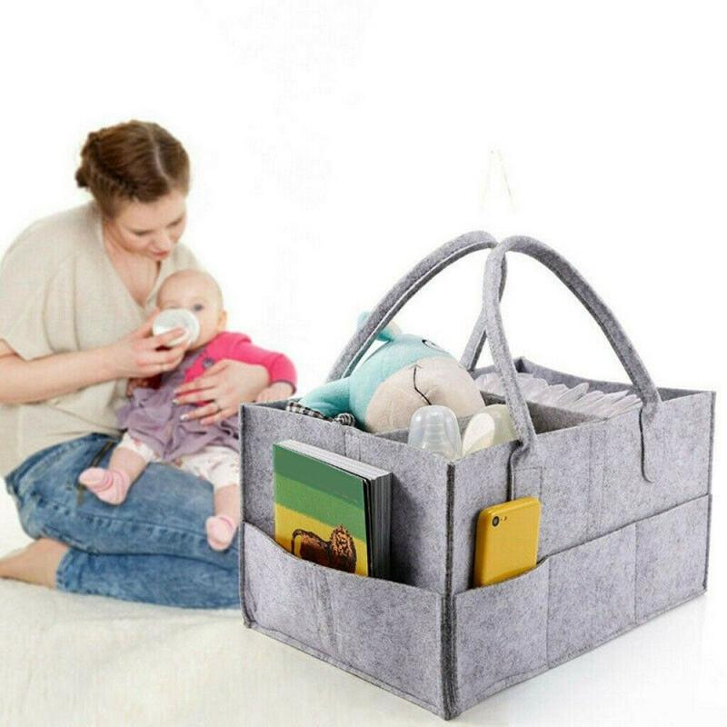 Baby Diaper Organizer Caddy Felt Chang Nappy Kids Storage Carrier Bag Grey