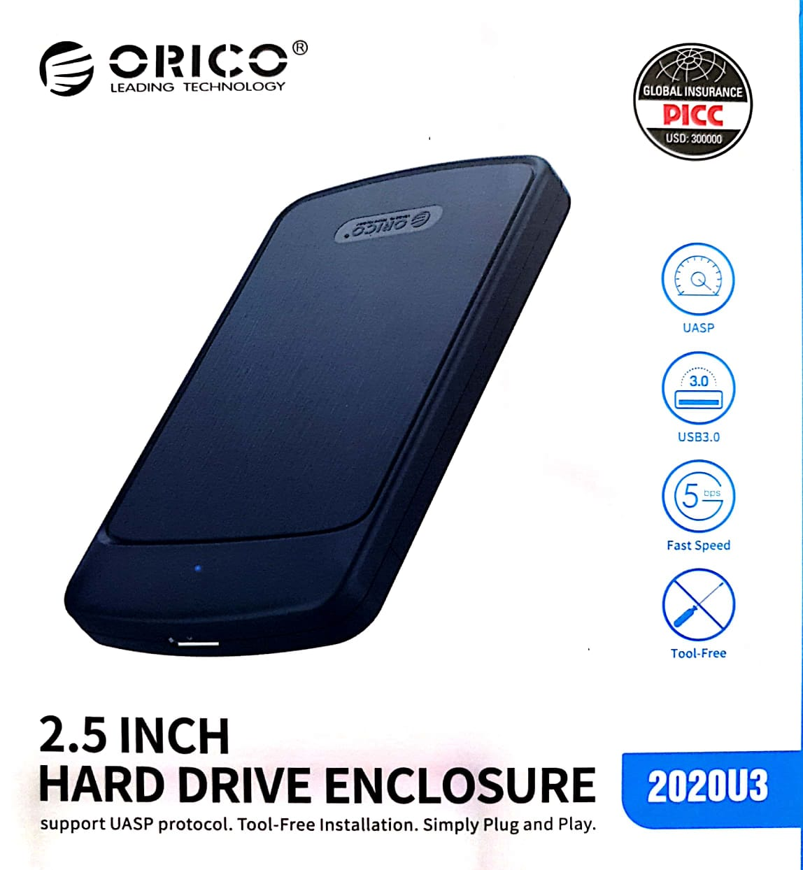 ORICO 2020U3 USB 3.0 HDD case 2.5 inch SATA SSD Hard Drive Case Support 4TB Mobile External HDD Enclosure Box High Speed Case External Case Caddy