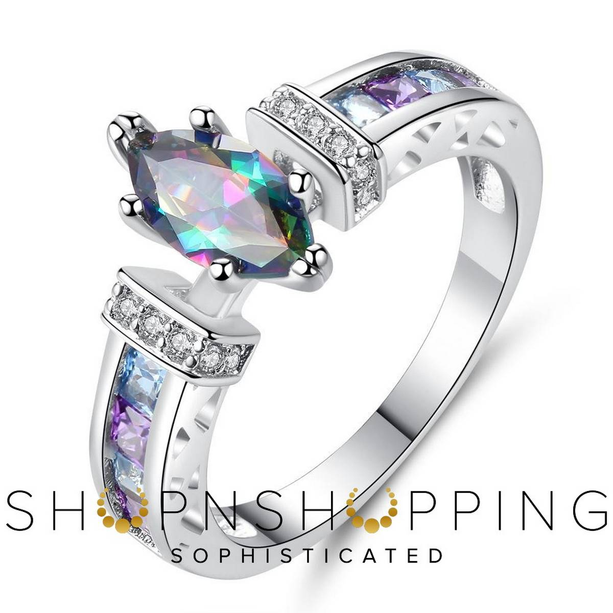 Imported High Quality Silver Colorful Zircon engagement Rings for Girls & Women - HS-WL-R555