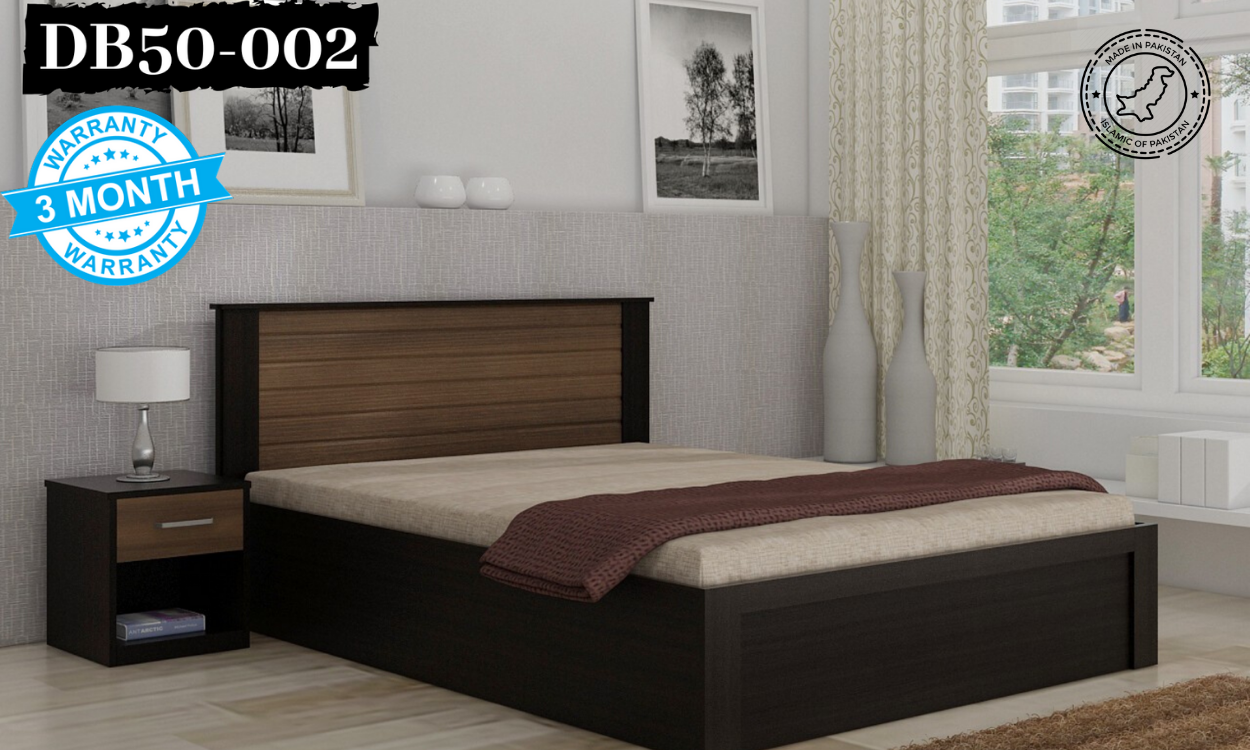 DB50-002 - FMF Oak Wood Double Tone Black & Brown Polish King / Queen Bed with Side Tables