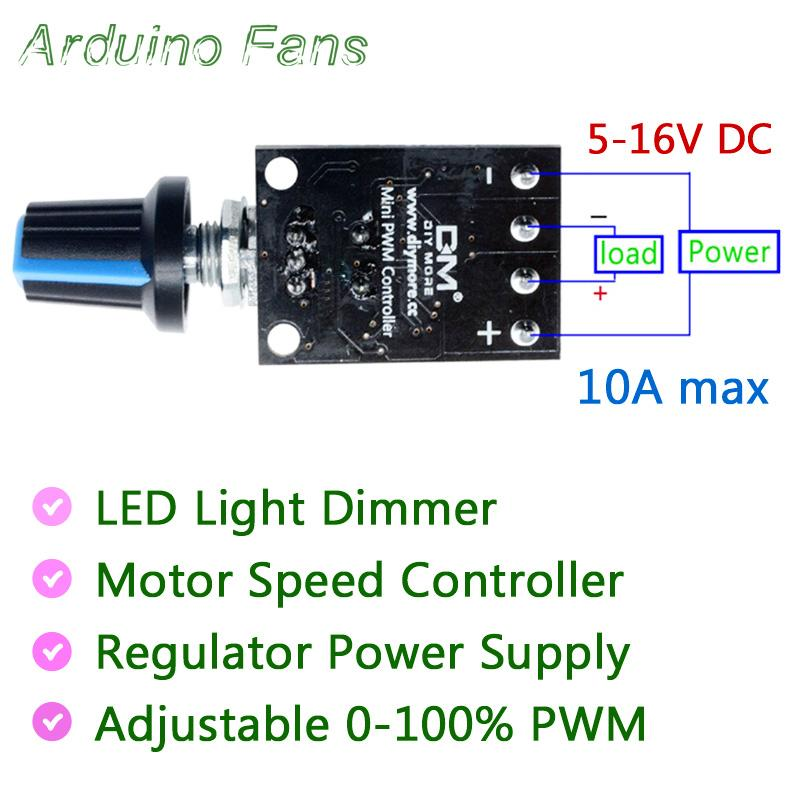 DC 5-16V 10A Motor Speed Control Step-less Governor PWM Speed Regulation  Board LED Dimming 10A High Linearity Band Switch Module By Arduino Fans