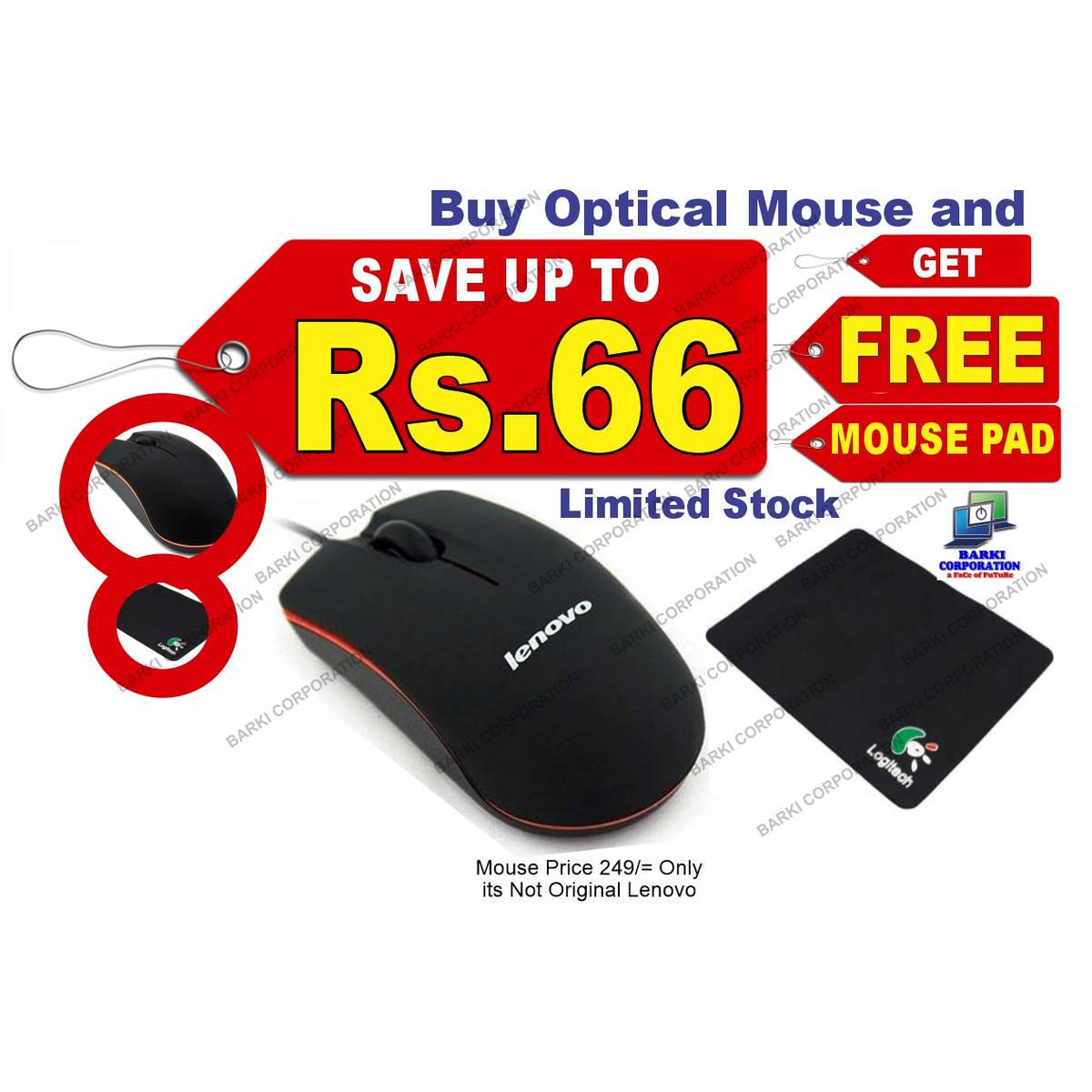 Buy Optical Wired Mouse Mice and Get Free Mouse Pad, Optical Mice Mouse for Computer , Laptop , LED, DVR and Mobile,