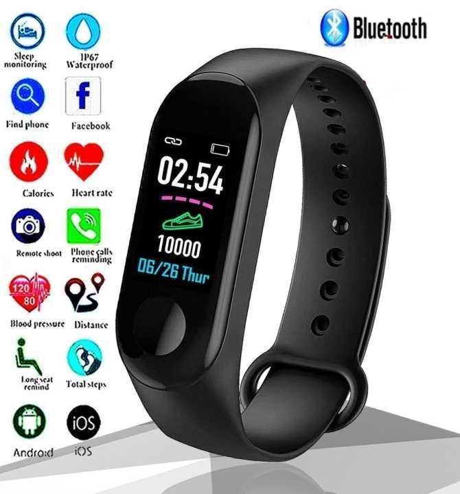 M3 Smart Watch Bracelet Fitness & Activity Tracker Messages Reminder Blood Pressure Color Screen Waterproof Sport Wristband Smart watch For men women
