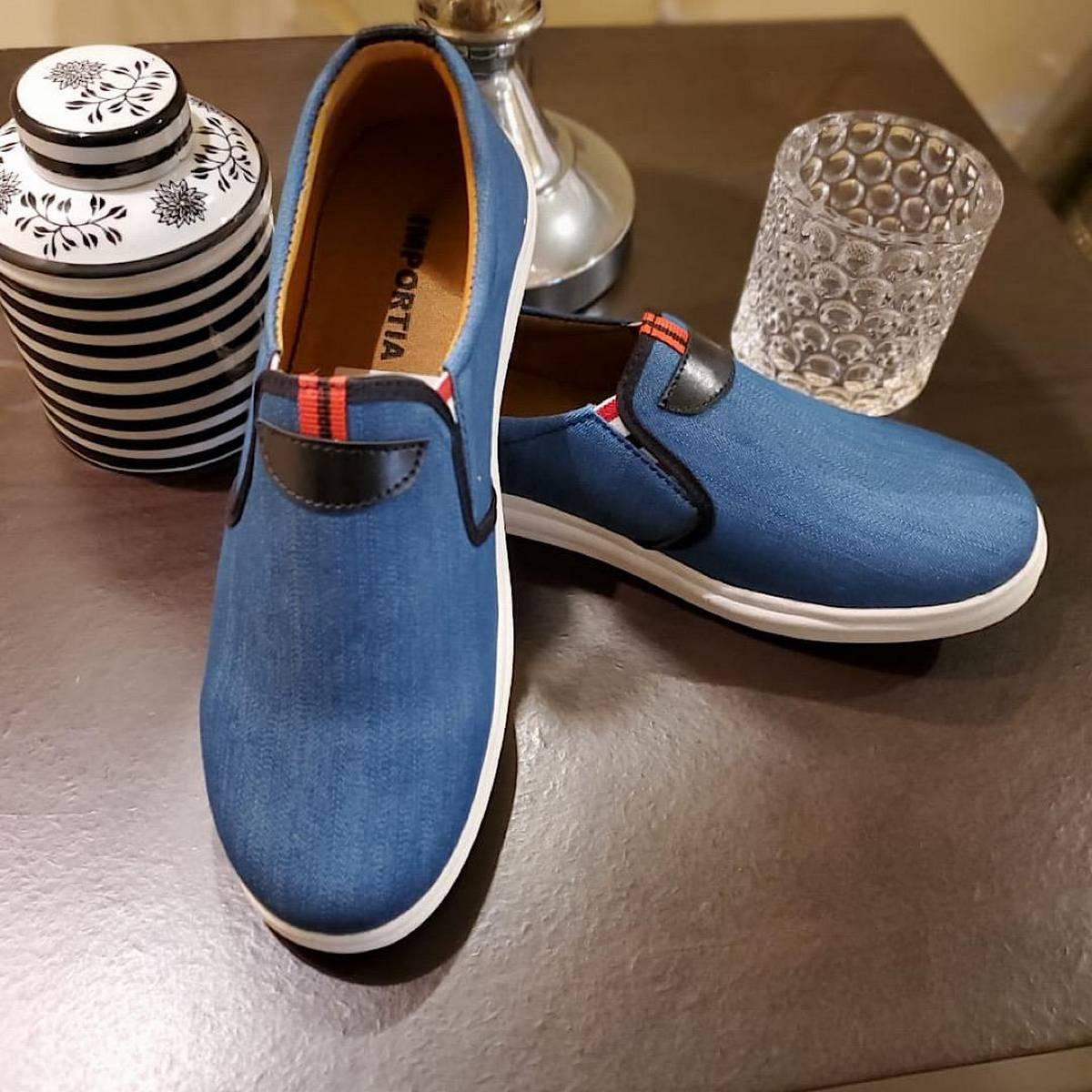 Men's Sky Blue Colour Classic Heavy Denim Fabric Sneaker Shoes
