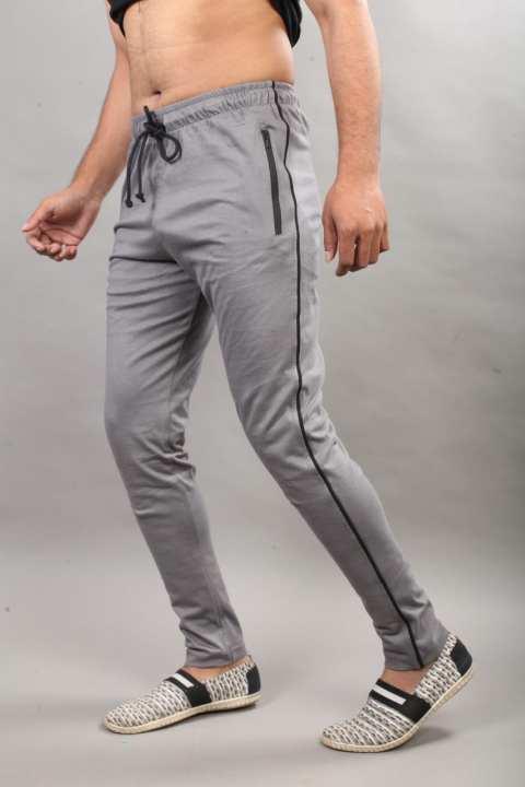 Grey Cotton Side Black Stripe Trouser For Men Streetwear
