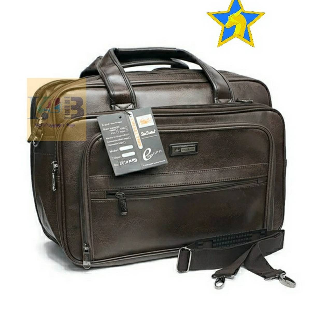 Star Dragon Office Laptop Vegan Leather Executive Formal 15.6 Laptop Briefcase Messenger Bag for Men Women with Multiple compartments (Brown)