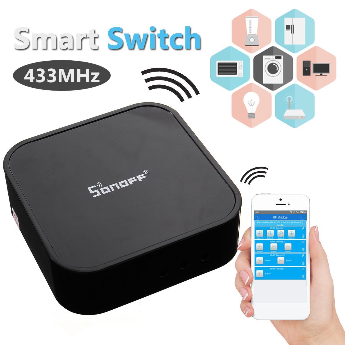 Sonoff Wireless Smart Switch RF Bridge 433MHz Wifi Remote DIY For Echo Alexa