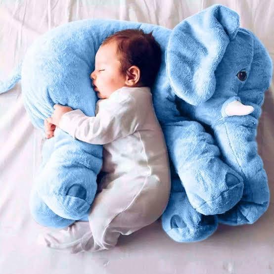 Soft Plush Elephant Sleep Pillow Baby Kids Sleeping Soft Pillow Elephant Plush Cute Toy Lumbar Cushion Children Doll Toys Gifts for Toddler Infant Kids Gift